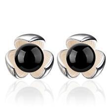 Fashion Jewelry Black Onyx Lucky Trefoil 925 Silver Stud Earrings Female Gift