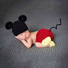 Baby Newborn Mickey Mouse Crochet  Knit Costume Photo Prop Beanie Hat Pants 1Set