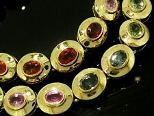 L090- Genuine Solid 9ct Gold NATURAL Rainbow MULTI Fancy Sapphire Bracelet 18cm