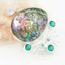 Mermaid Style Huge Natural Abalone Shell Green Topaz Gem Silver Necklace Pendant