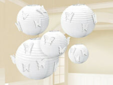 5 White Lantern Decorations with Butterfly Attachments Wedding Birthday Party