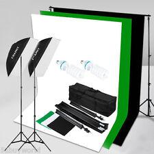 1250W Fotostudio Video Dauerlicht Kit+3x Hintergrund+Light Stand Lampen+Tasche