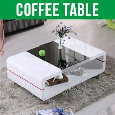 NEW MODERN HIGH GLOSS WHITE COFFEE TABLE WITH BLACK GLASS TOP LIVING ROOM