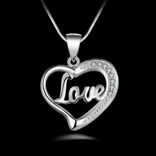 Exquisite Women's Crystal Heart Pendant Necklace Chain Fashion Jewelry Love Gift