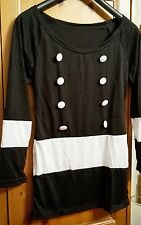 Unbranded Ladies Retro Black & White Button Front Dress.