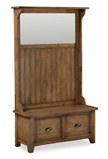 Feock Pine Hallway Unit / Reclaimed Pine Hall Bench with Drawers, Mirror & Hooks