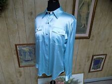 Chico's Aqua Blue Silk Blend Long Sleeve Blouse Camp Style Shirt SZ 1