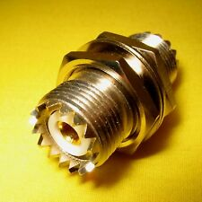 UHF Female SO239 Nut Bulkhead to SO-239 Barrel Joiner Jack Chassis Connector RF