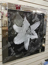 86cm-Black & White flower picture with crystals,liquid art & mirror frame/A