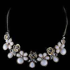 Stunning Candy Cluster Cream & Gold Statement  Flower With Crystal Necklace