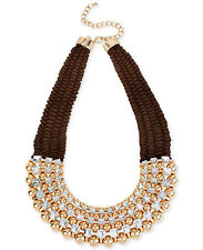 M. Haskell Gold-Tone Brown Bead and Crystal Necklace $58