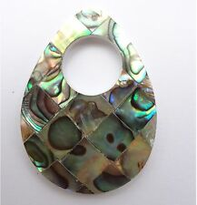 30x40mm Donut Teardrop Natural Abalone Gemstone Pendant - 1 Pc