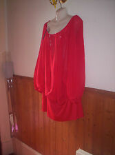 "BRAND NEW SO FABULOUS RED  LONG TUNIC TOP SIZE 30 BUST "" 70"""