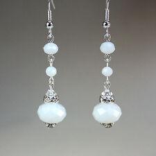 White crystal vintage silver wedding bridal bridesmaid long drop dangle earrings