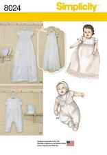 SIMPLICITY SEWING PATTERN CHRISTENING SETS WITH BONNETS IN 3 SIZES XXSM - M 8024