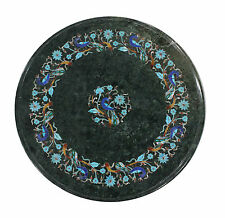 """Size 24""""x24"""" Marble Console Table Top Turquoise Marquetry Peacock Floral Inlay"""