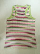 GEORGE WHITE, GREEN & PINK STRIPED COTTON VEST TOP – 10-11 YEARS