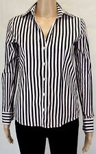 BEN SHERMAN Ladies Black Striped Long Sleeve Blouse Business Shirt Top Size XS