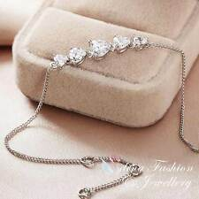 18K White Gold Plated Simulated Diamond Sparkling Thin Chain 5 Hearts Bracelet