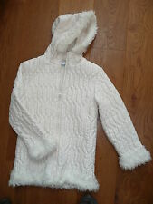 ADAMS CREAM PADDED QUILTED FUR HOODED COAT JACKET PUFFA JACKET ANORAK 10 Yrs -