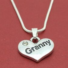 Granny Necklace Silver Plated heart charm pendant and chain 18 inch