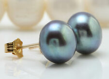 Natural 9.00 mm Tahitian Pearl in 14K Solid Yellow Gold Stud Earrings