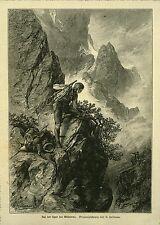 alter Holzstich:Auf der Spur des Wilderers/  1890-1910