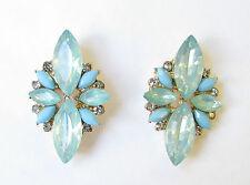 Turquoise Blue Silver Faux Opal Earrings Stud Art Deco Vintage 1920s Drop 1127