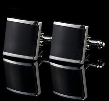 Stainless Steel New Square Black Wedding Party Gift Men's Cufflinks Cuff Links