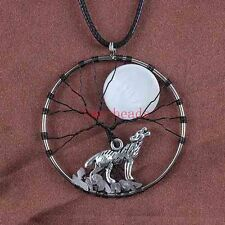 Natural Silver Plated Wire Wrap Stone Shell Moon Tree Wolf Howl Pendant Necklace
