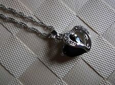 BRAND NEW SILVERTONE HEART SHAPE ONYX COLOURED GEM AND OPEN HEART PENDANT