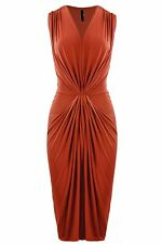 New Womens ladies gorgeous gathered front rust midi dress size 12