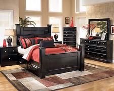 parkway modern 5pcs almost black queen storage poster bedroom set furniture black bedroom furniture set