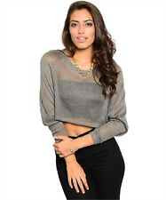 New Grey Gorgeous Chic Casual Crop Top Loose Fit Sheer Blouse Top S & L