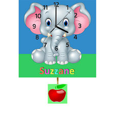 Childrens Kids Baby Elephant Personalised Clock with Pendulum Gift any Name