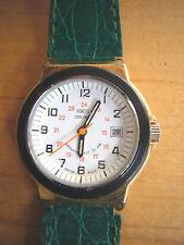FORTIS Vintage seltene Armbanduhr gold-schwarze Lünette Lederband Kroko Grün