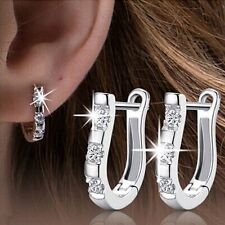 1 Pair Trendy Silver Crystal Rhinestone White Gold Plated Stud Hoop Earrings Hot