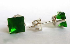 EMERALD SILVER STUD EARRINGS - SQUARE PRINCESS 5MM BUTTERFLY FASTENING