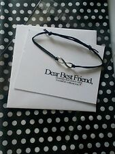 Black Friendship Wish Bracelet Silver Infinity Charm & Best Friend Gift Card New