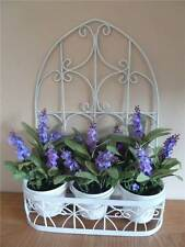 3 Purple Lavender Silk Artificial Flower Pots - In Cream Metal Planter