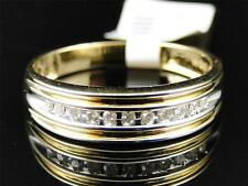 Mens 10K Yellow Gold Genuine Diamond Wedding Engagement Band Ring