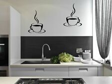 2 Coffee Cups Kitchen Wall Stickers Cafe Vinyl Art Decals DIY
