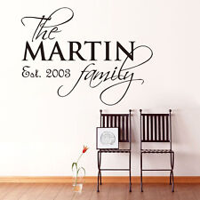 Customized Family Name Vinyl Wall Sticker Personalised Family Decorative Decal