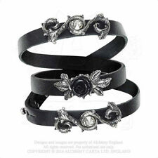 Alchemy Gothic Rose Of Perfection Pewter Black Leather Wrist Strap Bracelet A116