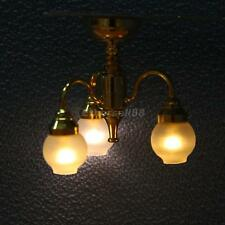 1:12 Scale Dollhouse Furniture LED Chandelier Ceiling Light Lamp w. Battery