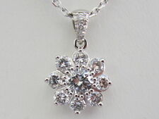 14k. White Gold Natural Diamond Cluster Pendant, 1.14 Carats total weight, New