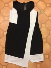 City Chic Brand Plus Size M Black & White Asymmetric Stretch Knit Dress, NWTGS