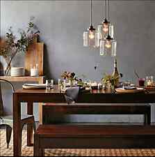 Pendant Light with 3 Glass Jar Shade Ceiling Hanging Lamps Edison Bulbs