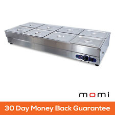 Electric Stainless Steel Bain Marie Food Warmer Display 8 Gastronorm Pans x 1/2