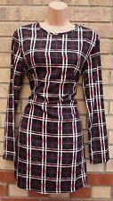 BLACK PINK WHITE CHECKED TARTAN CHECK SILKY FEEL LONG SLEEVE SMOCK DRESS S 10